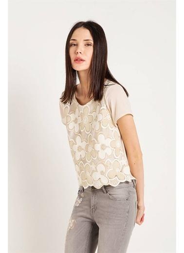 Xtsy Kısa Kollu Çiçekli Bluz Beyaz